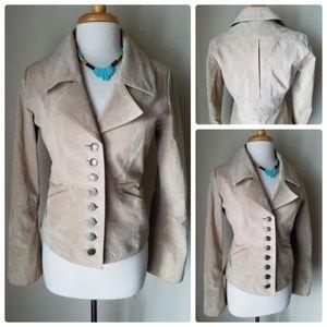 BB Dakota Suede Leather Blazer Jacket & Necklace